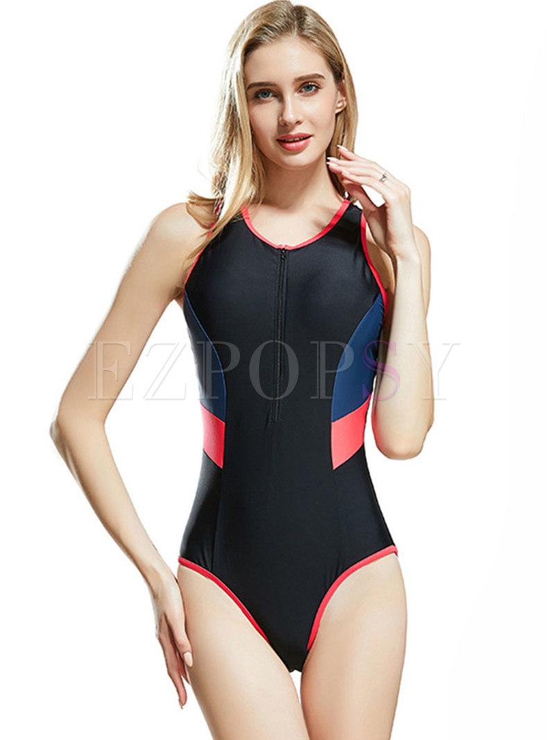 Stylish Color-blocked O-neck Zipper One Piece Swimwear