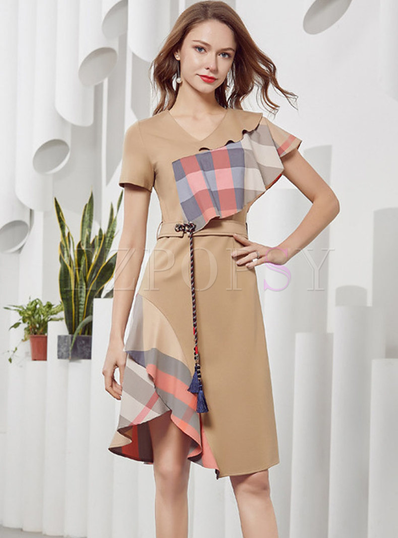 Asymmetric Khaki Plaid Flouncing Skater Dress