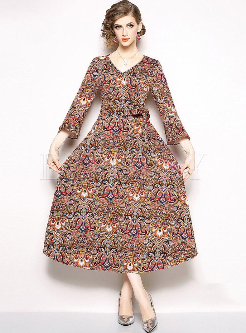 Print V-neck Flare Sleeve Slim Maxi Dress