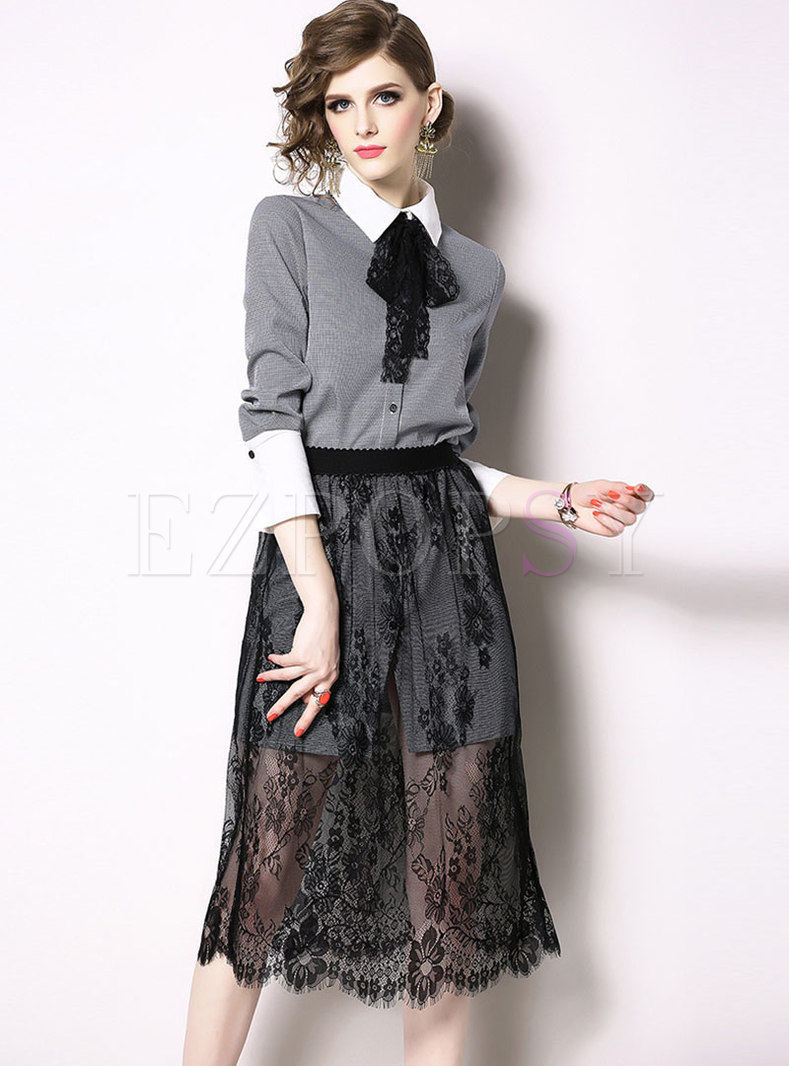 Plaid Lapel Bowknot Blouse & Lace Elastic Waist Skirt