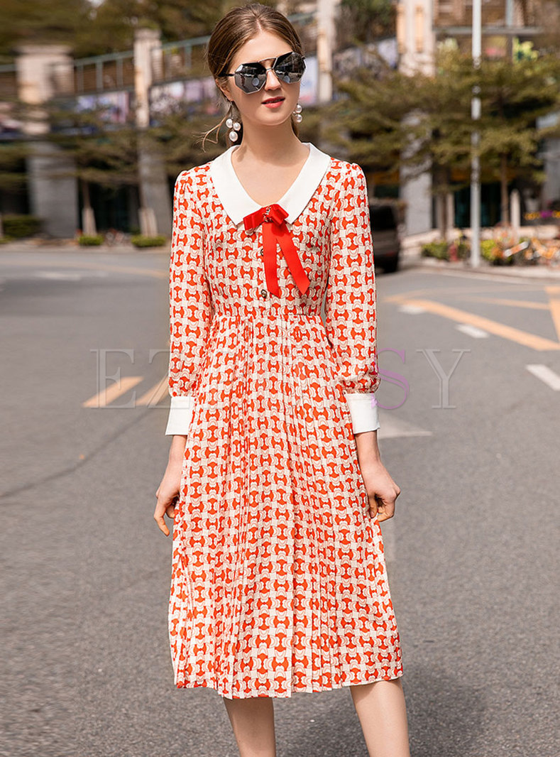 Print Lapel Bowknot High Waist Pleated Dress