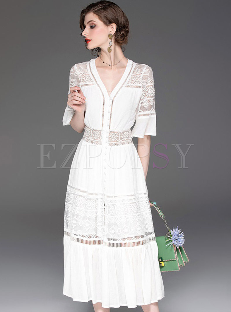 Lace Splicing V-neck Perspective Slim Dress