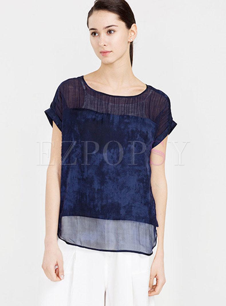 O-neck Short Sleeve Silk Pullover T-shirt
