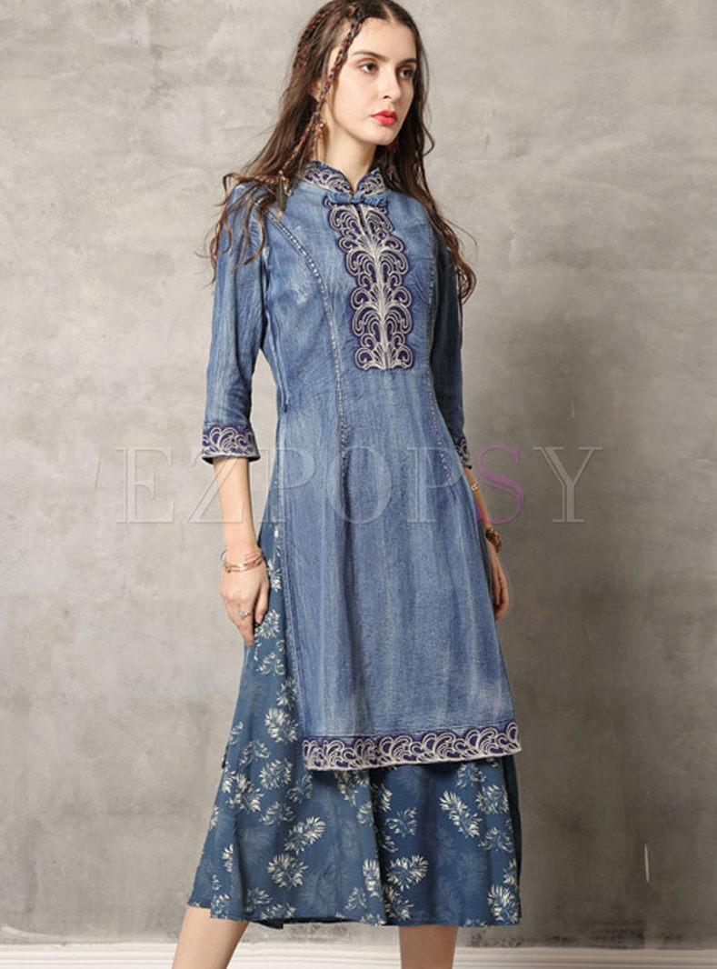 Mandarin Collar Print Patchwork Denim Dress