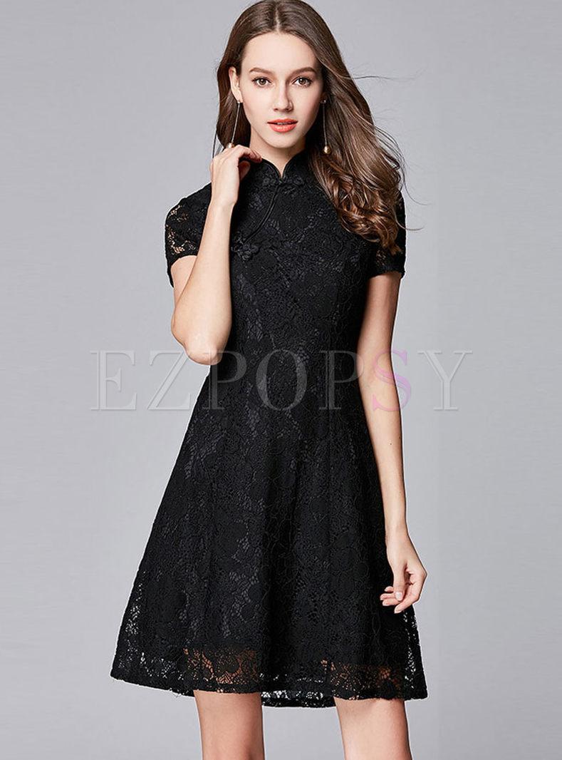 Retro Mandarin Collar Bodycon Dress