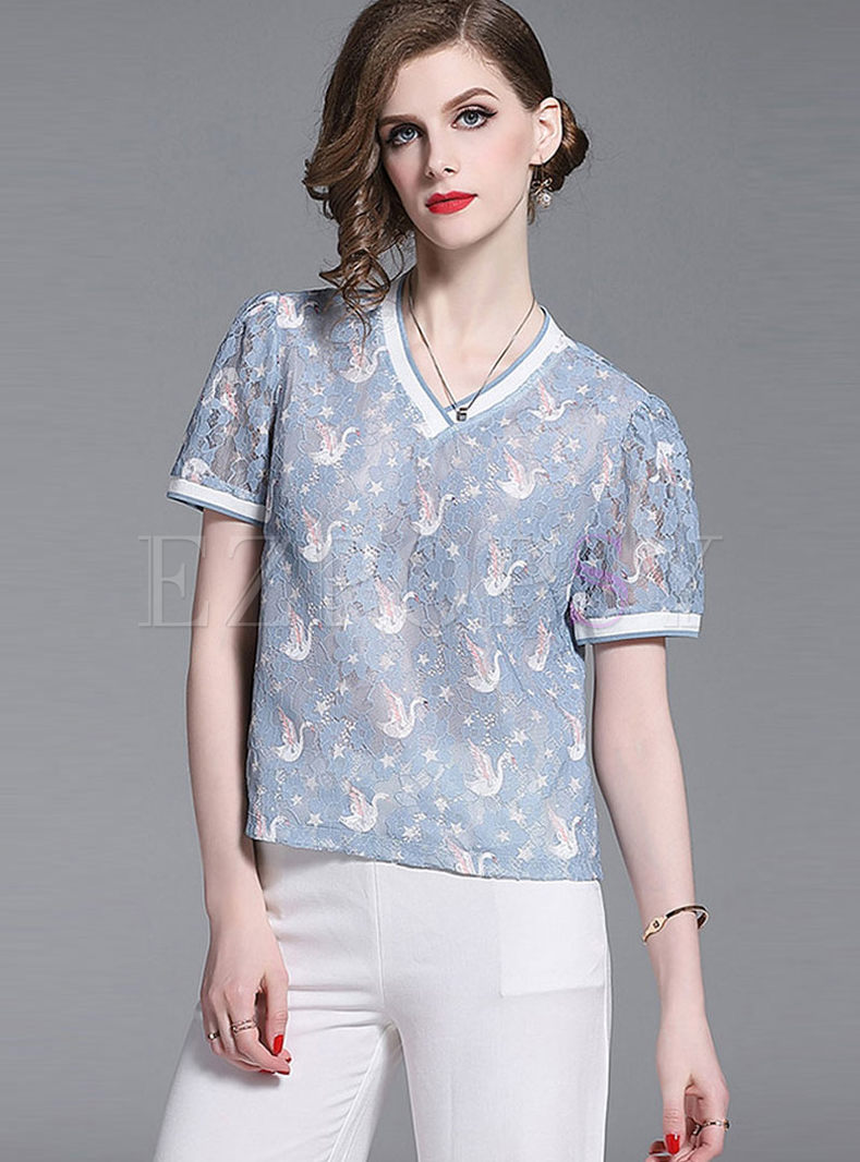 V-neck Short Sleeve Hollow Out T-shirt