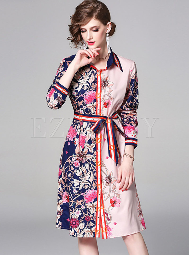 Print Lapel Belted Single-breasted Slim Dress