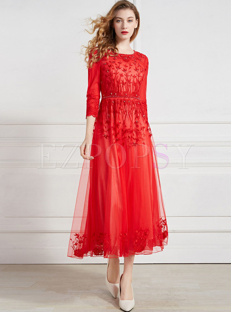 Elegant Mesh Embroidered Drilling Slim Maxi Dress