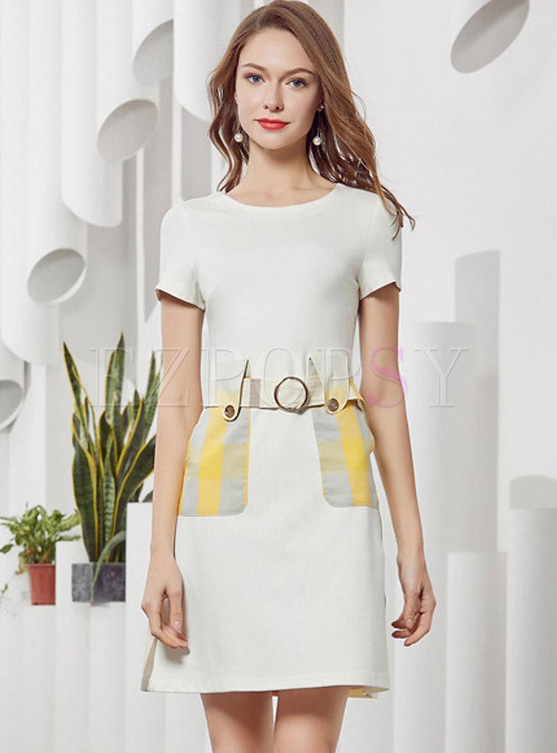 Color-blocked Splicing O-neck A-line Dress