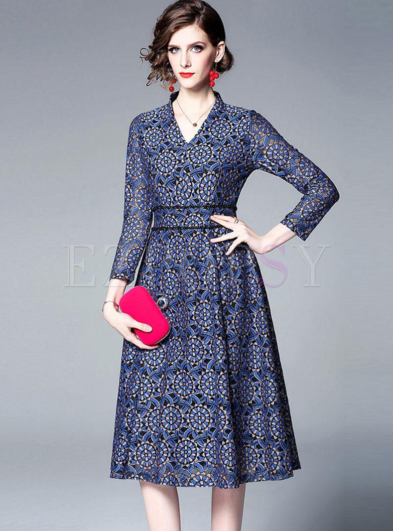 Retro V-neck Long Sleeve A Line Dress