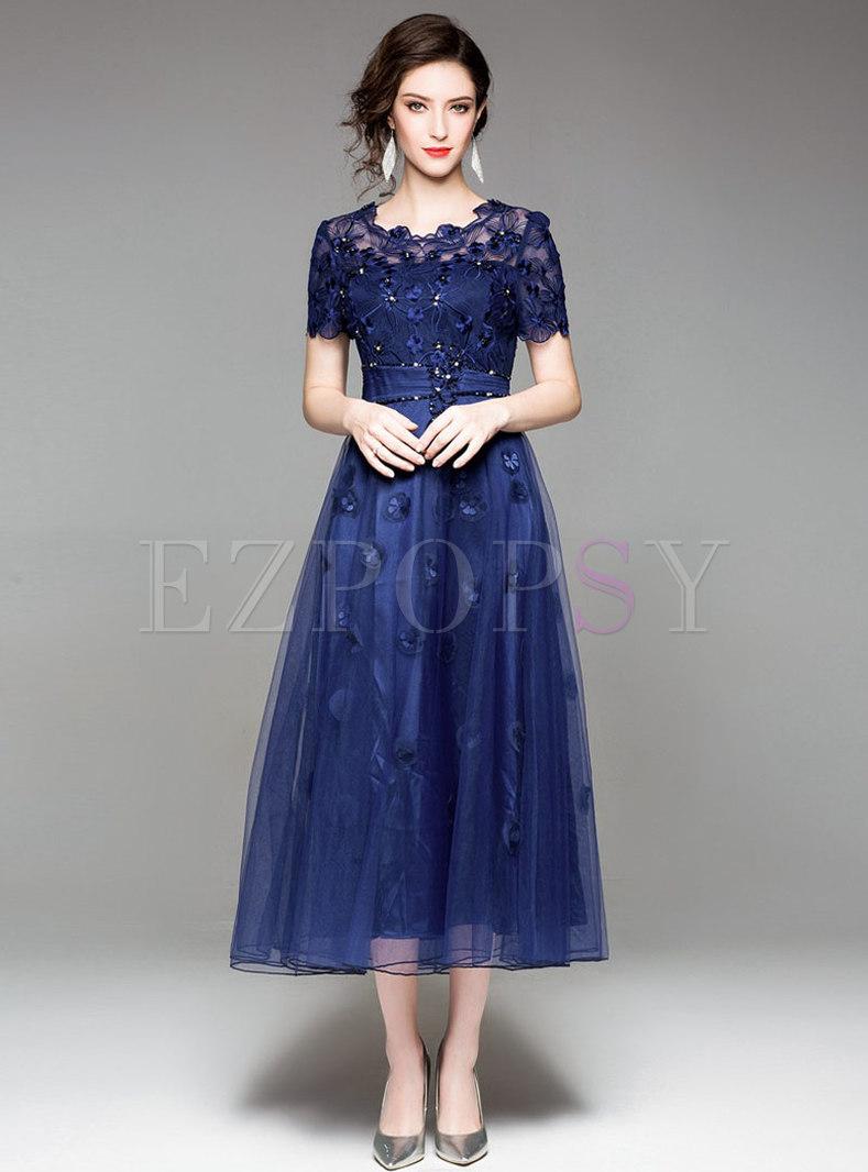 Party Mesh Embroidered Big Hem Maxi Dress