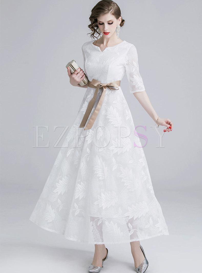 Elegant Lace Half Sleeve Tie-waist Hem Maxi Dress