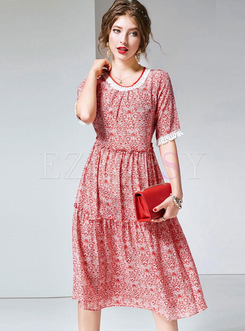 O-neck Short Sleeve Tassel Print Dress