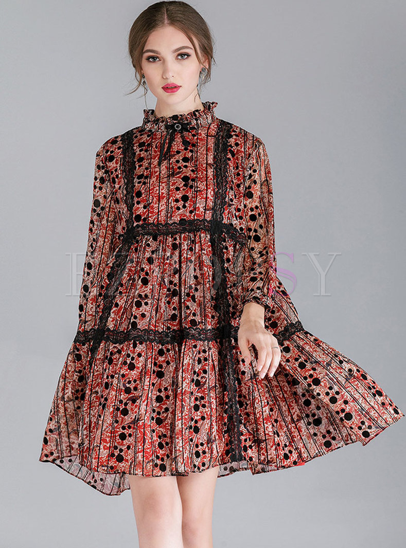 Trendy Print Lace Splicing Chiffon Shift Dress