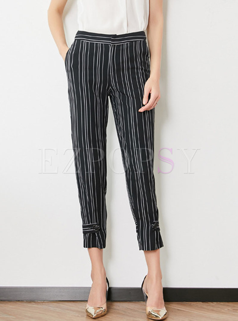 Trendy Striped Slim Straight Pants