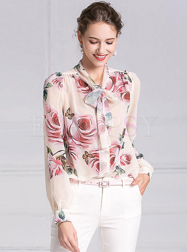 Elegant Rose Print Tie-collar Blouse