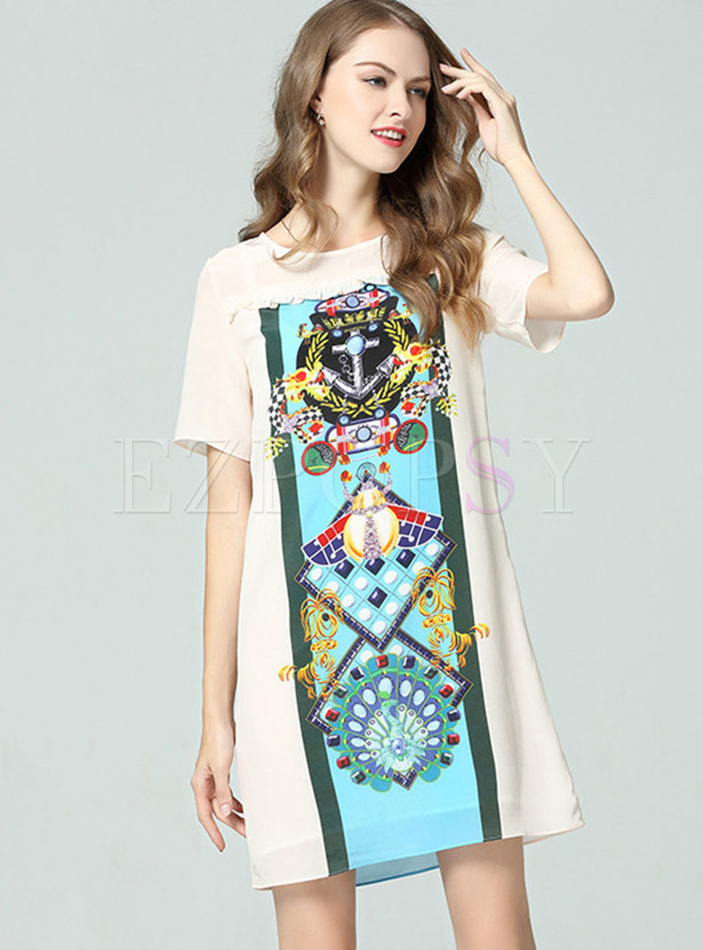 Stylish Print O-neck Shift Mini Dress