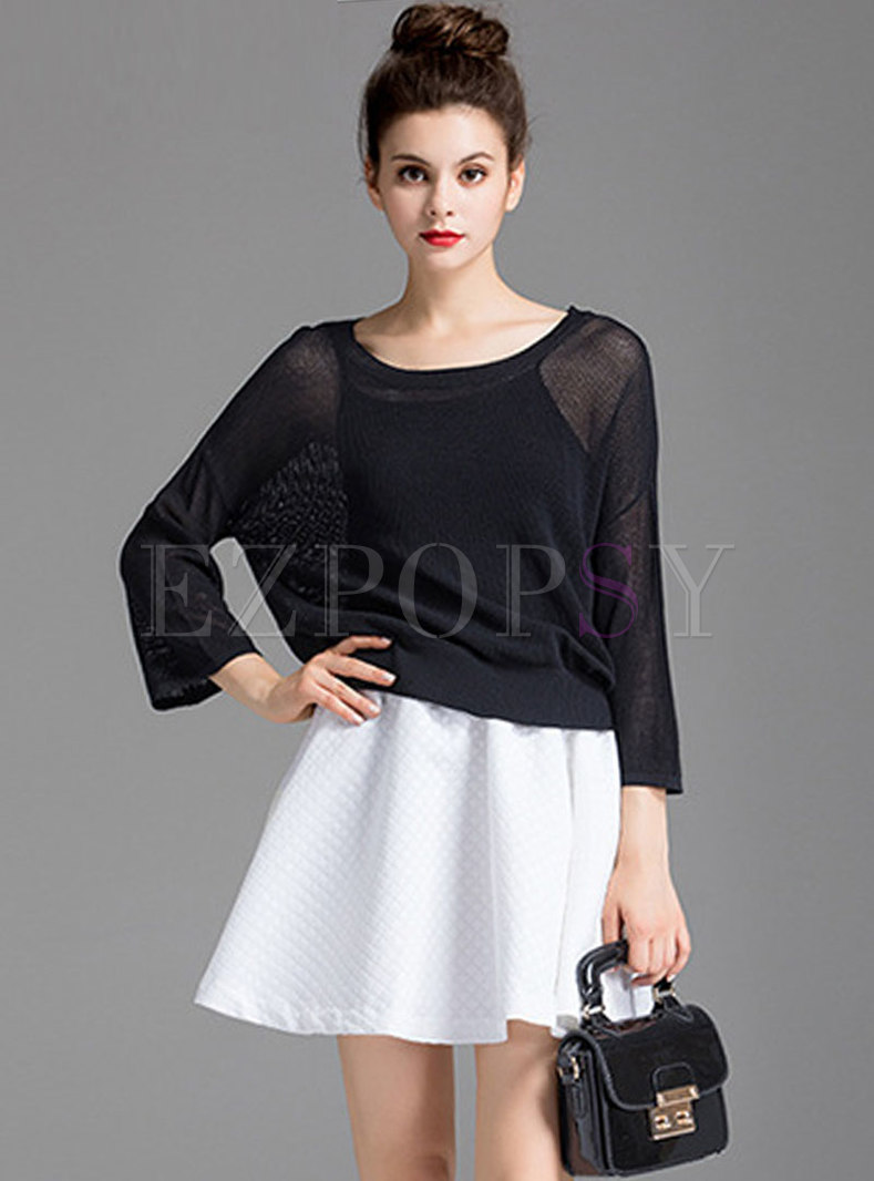 Pure Color Knitted Sweater & White A-line Skirt