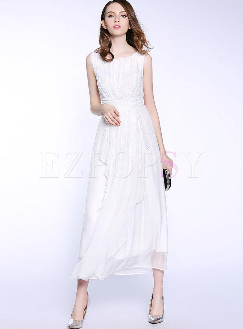 Elegant Sleeveless Gathered Waist Falbala Maxi Dress
