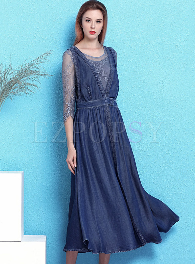 Lace O-neck Bodycon Dress & Denim V-neck Buttoned Dress
