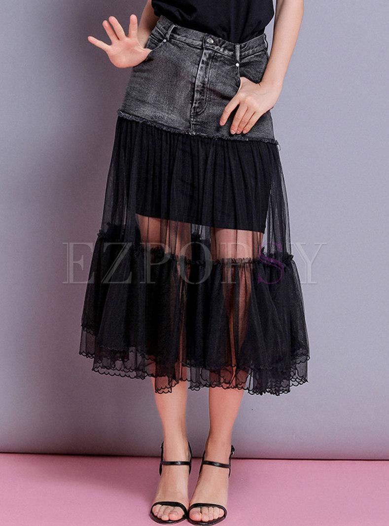 Chic Mesh Splicing Denim A Line Skirt