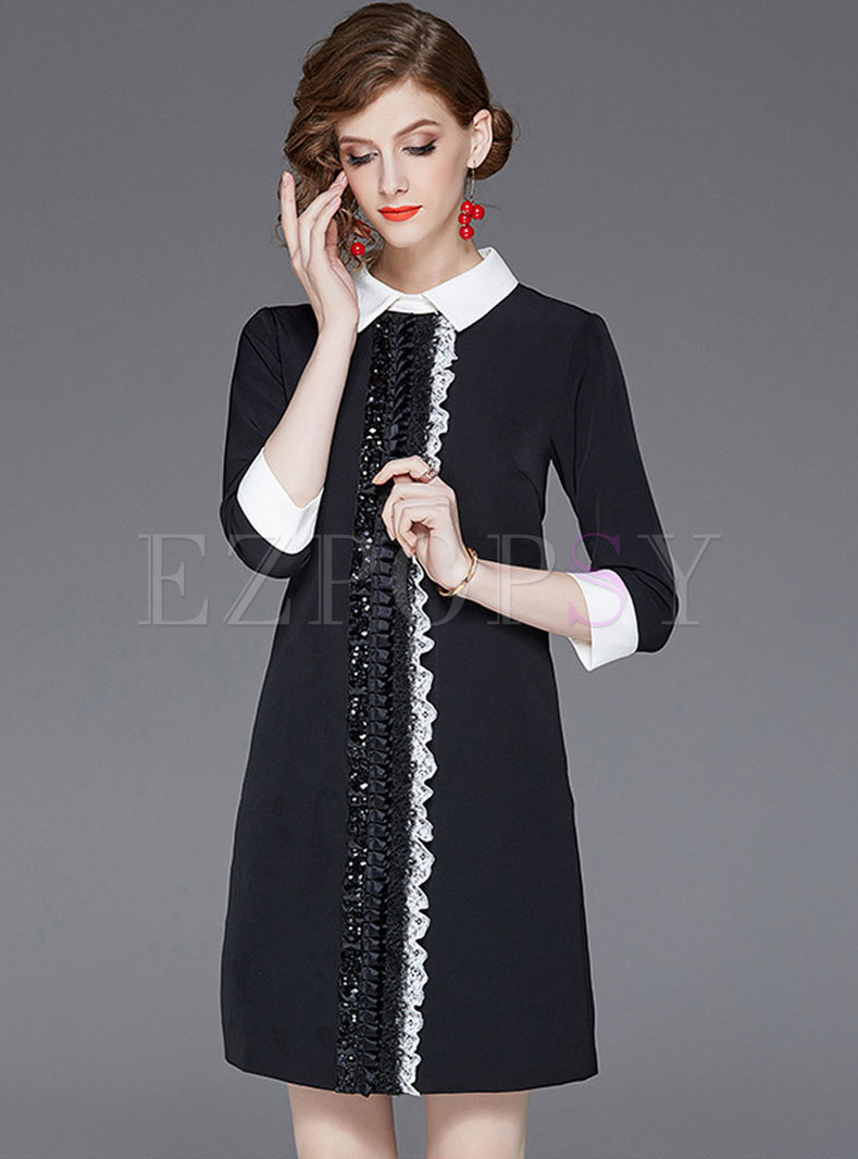 Stylish Bead Color-blocked Lapel A-line Dress