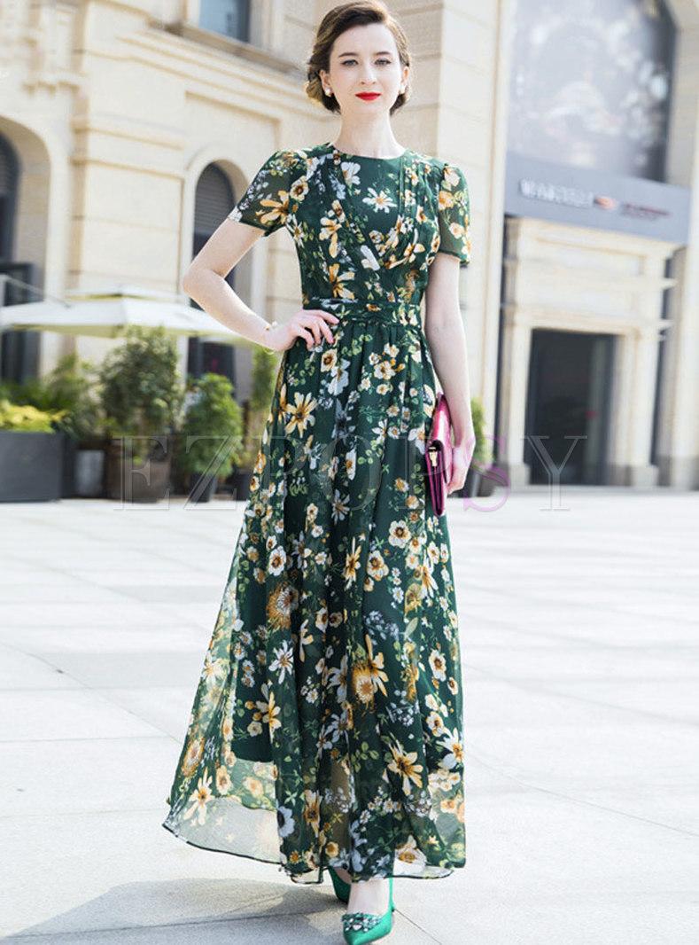 Casual Mesh Print O-neck High Waist Maxi Dress