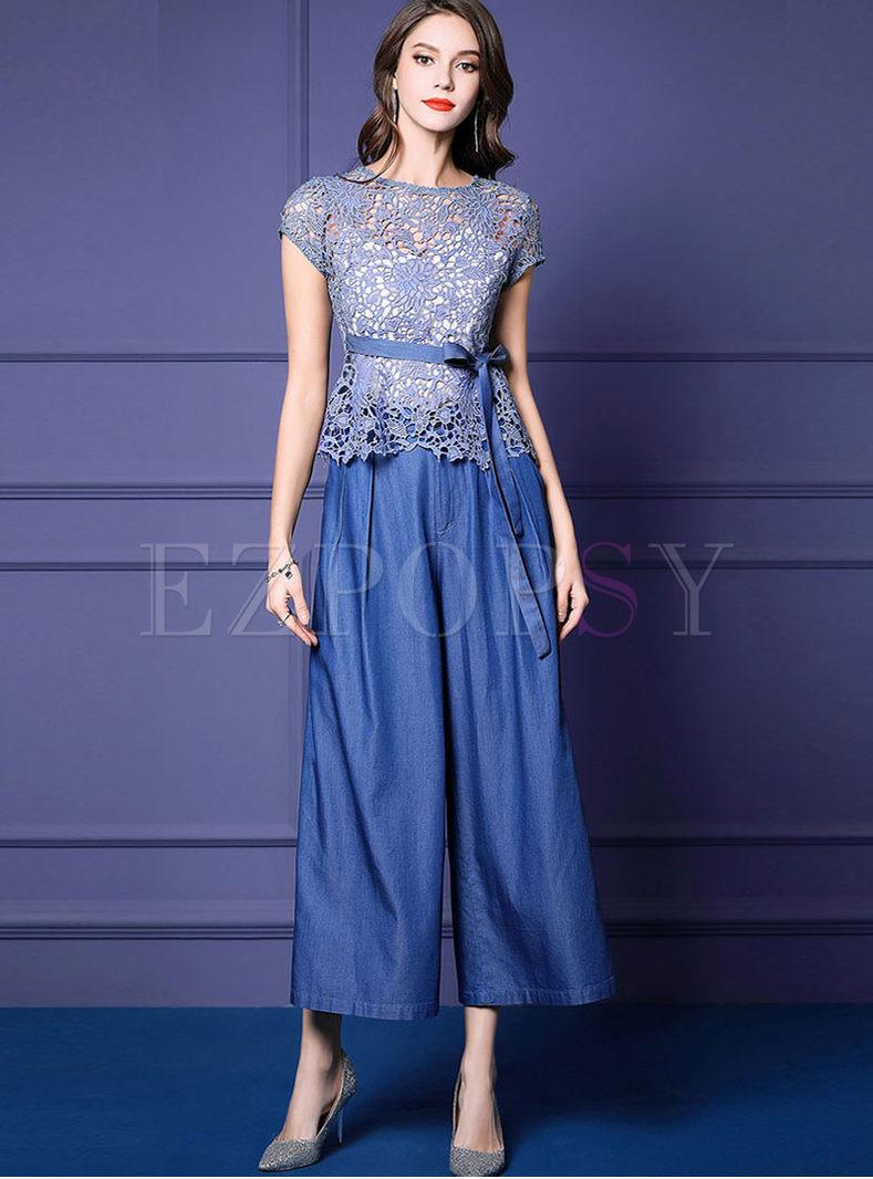 O-neck Lace Bowknot Top & Wide Leg Pants