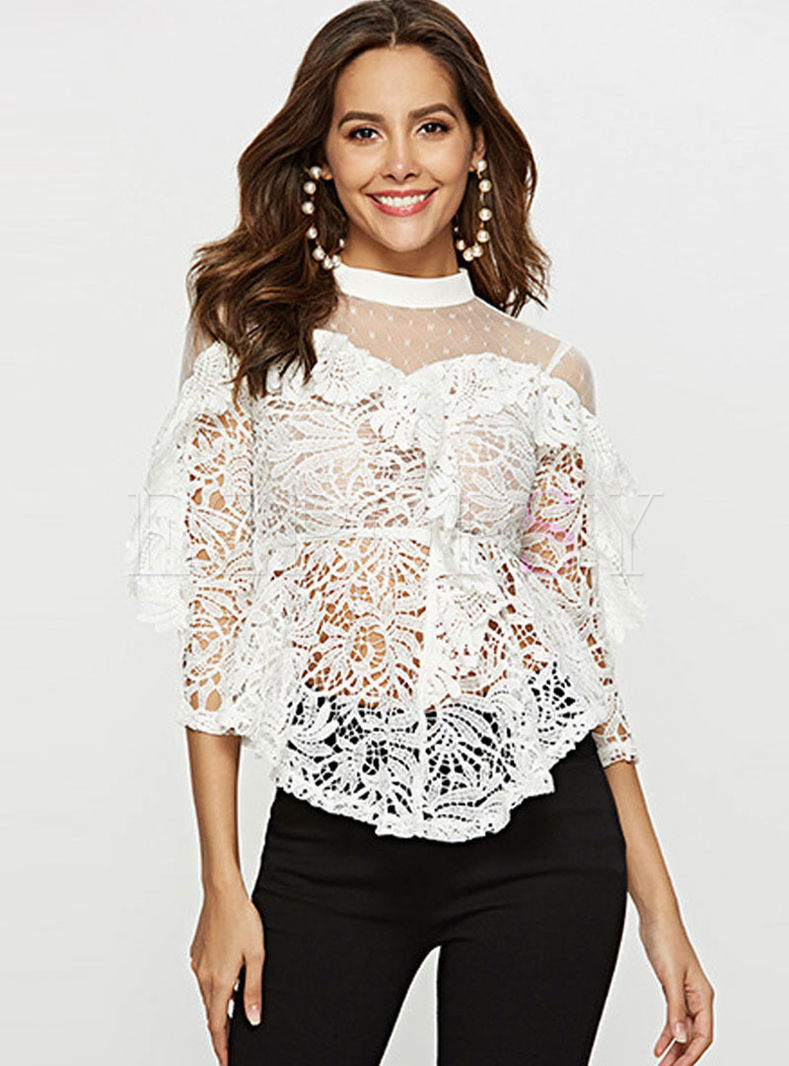 Sexy Hollow Out Perspective Lace Blouse