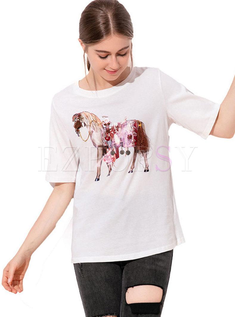 Brief Short Sleeve Animal Print T-shirt