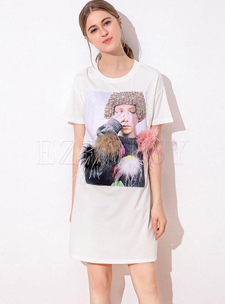 Crew Neck Pullover Mini T-shirt Dress