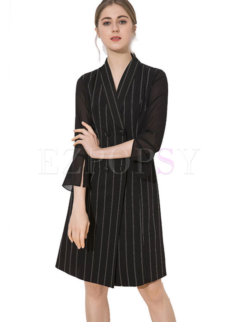 V-neck Striped Waist Slim Two Piece Outfits