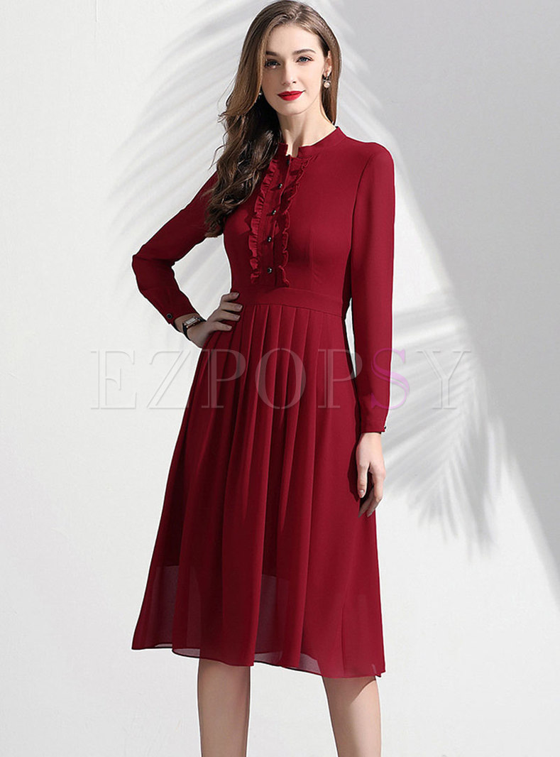 Pure Color Stand Collar Slim Chiffon Pleated Dress