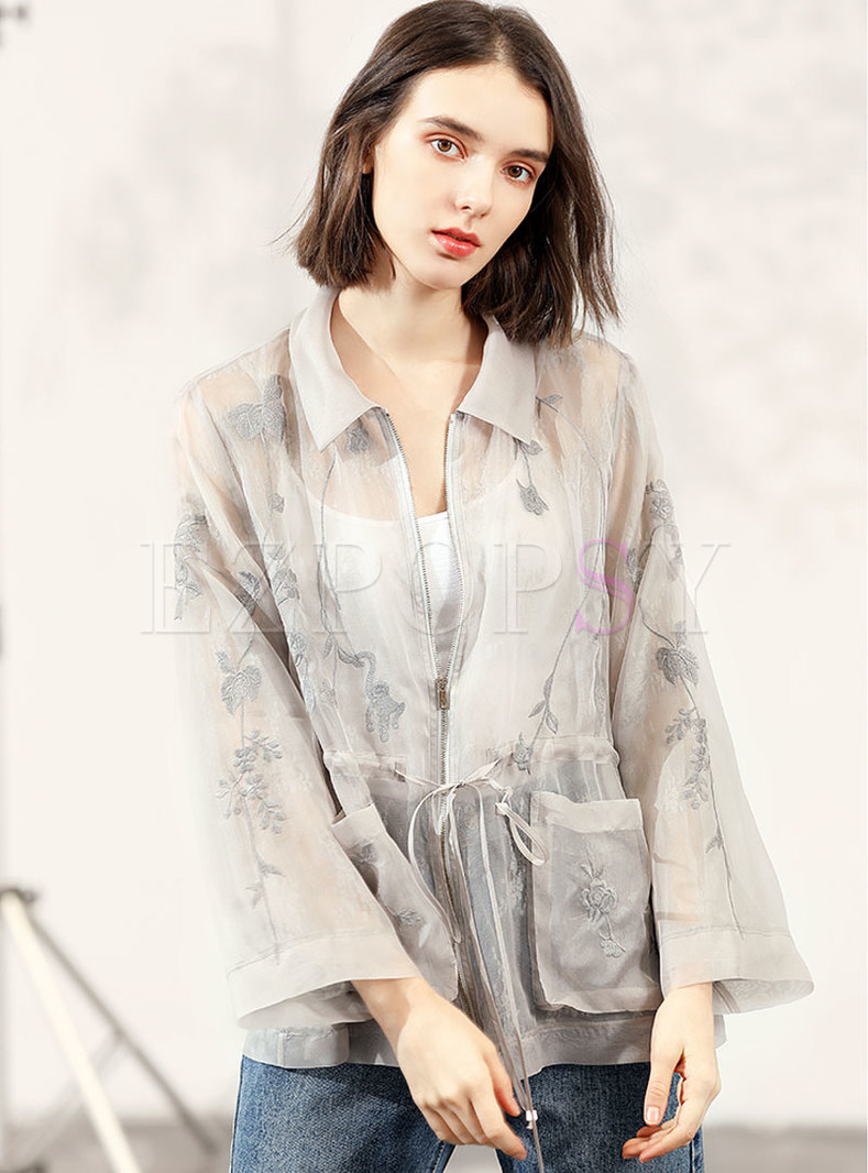 Embroidered Organza Silk Zip-up Thin Coat