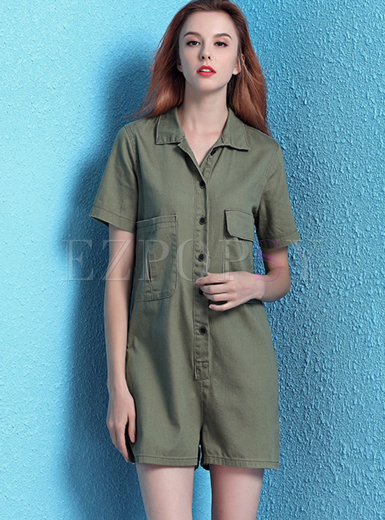Solid Color Lapel Single-breasted Rompers