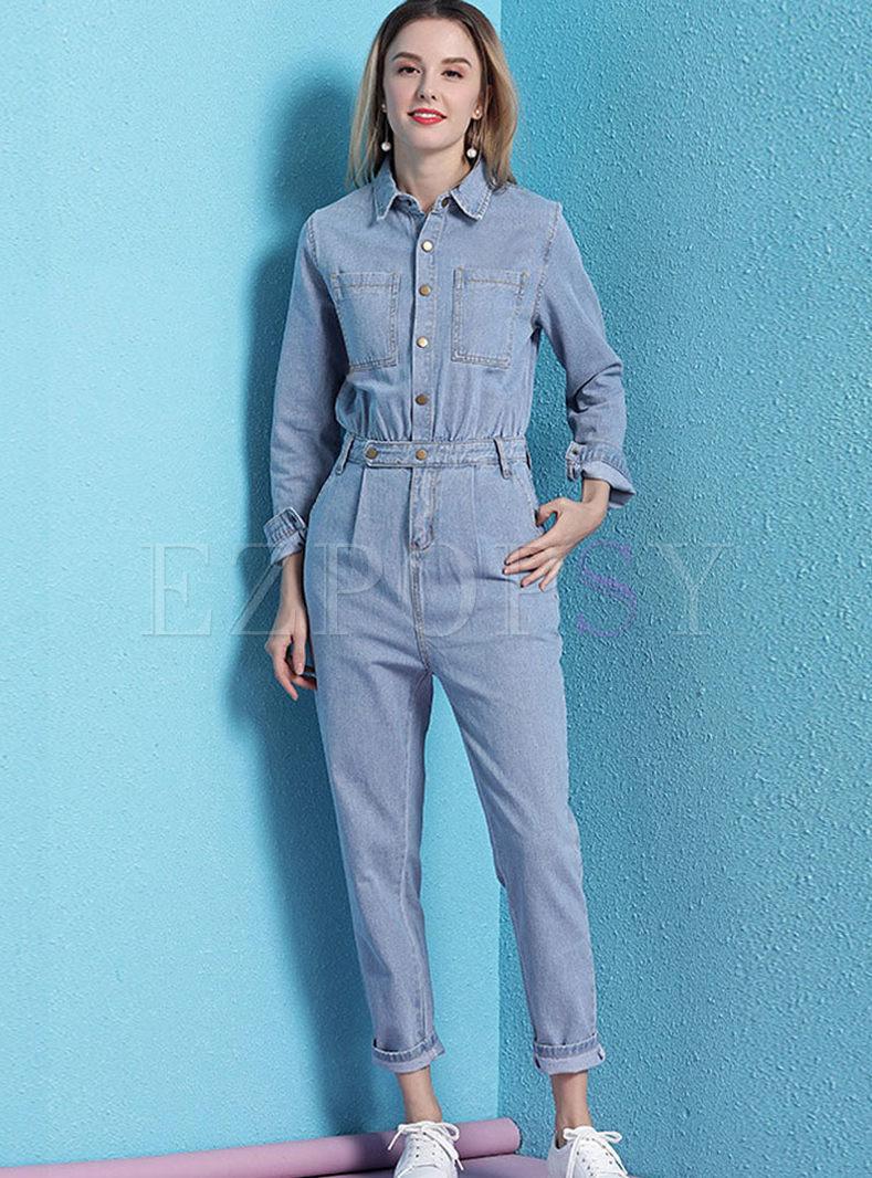 Lapel Long Sleeve Slim Denim Jumpsuits