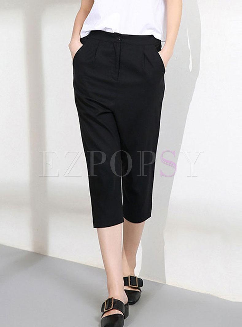 Casual Solid Color Slim Harem Pants