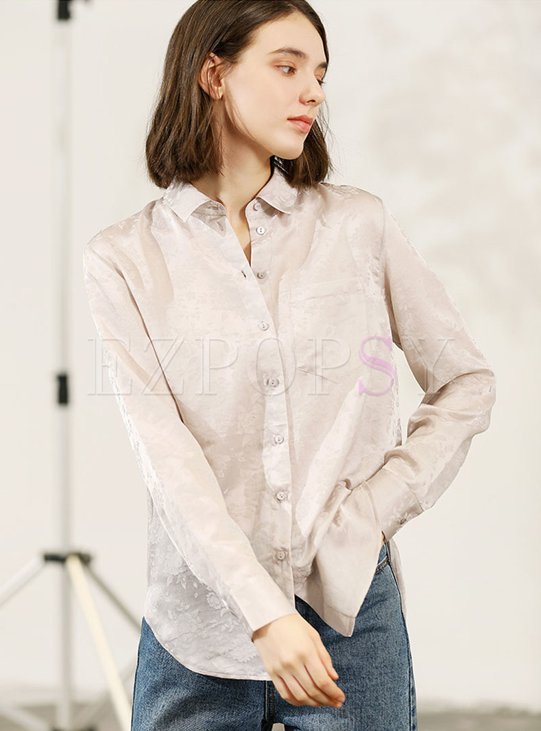 Stylish Turn-down Collar Silk Blouse