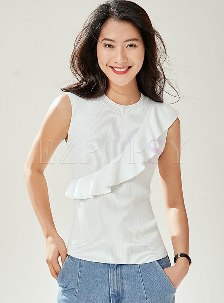 Pure Color Falbala Sleeveless Knitted Sweater