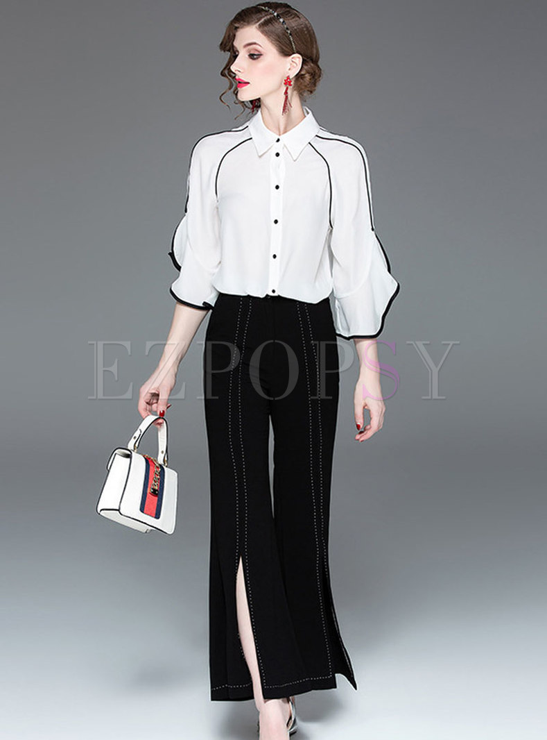 White Ruffle Sleeve Blouse & High Waist Wide Leg Pants