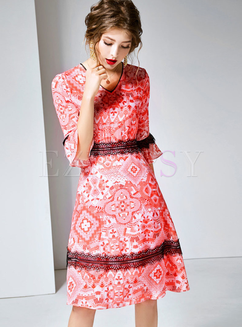 Lace Splicing Print Flare Sleeve Skater Dress