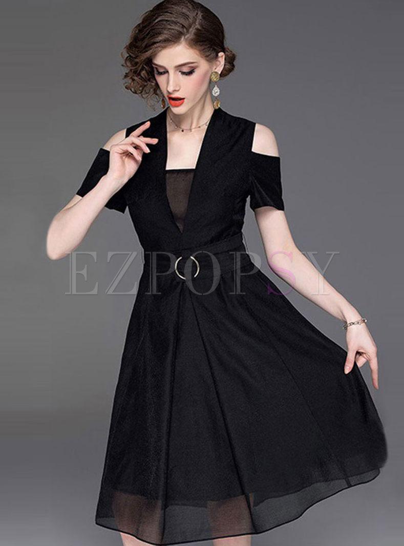 V-neck Off Shoulder Waist A Line Dress