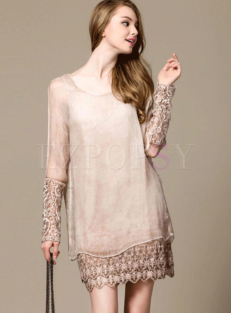 O-neck Long Sleeve Hollow Out Silk Dress