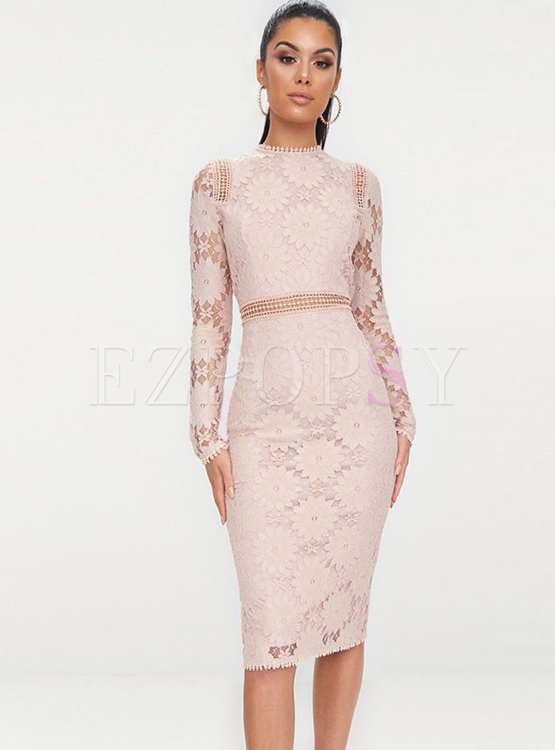 Sexy Pink Hollow Out Perspective Bodycon Dress