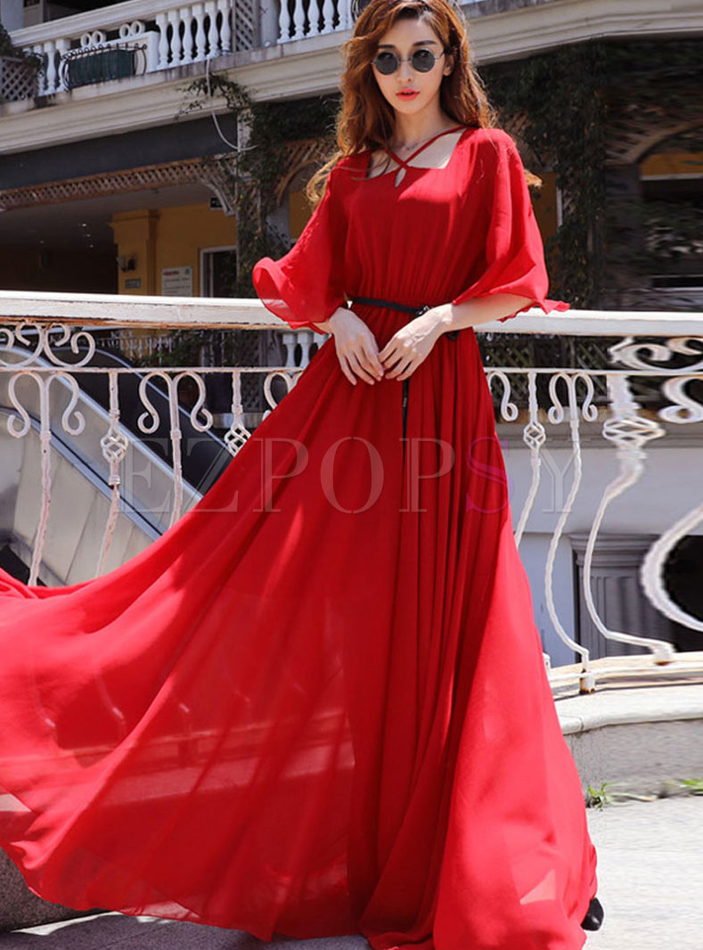 Fashion Square Neck Chiffon Maxi Dress
