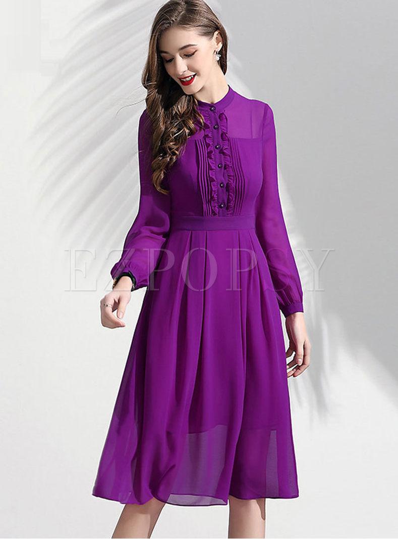 Brief Standing Collar Chiffon A Line Dress