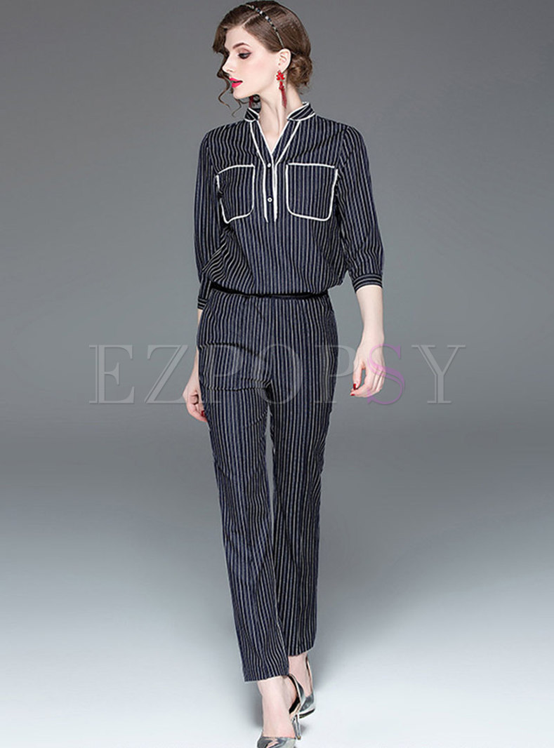 Elegant Striped Stand Collar Top & Straight Pants