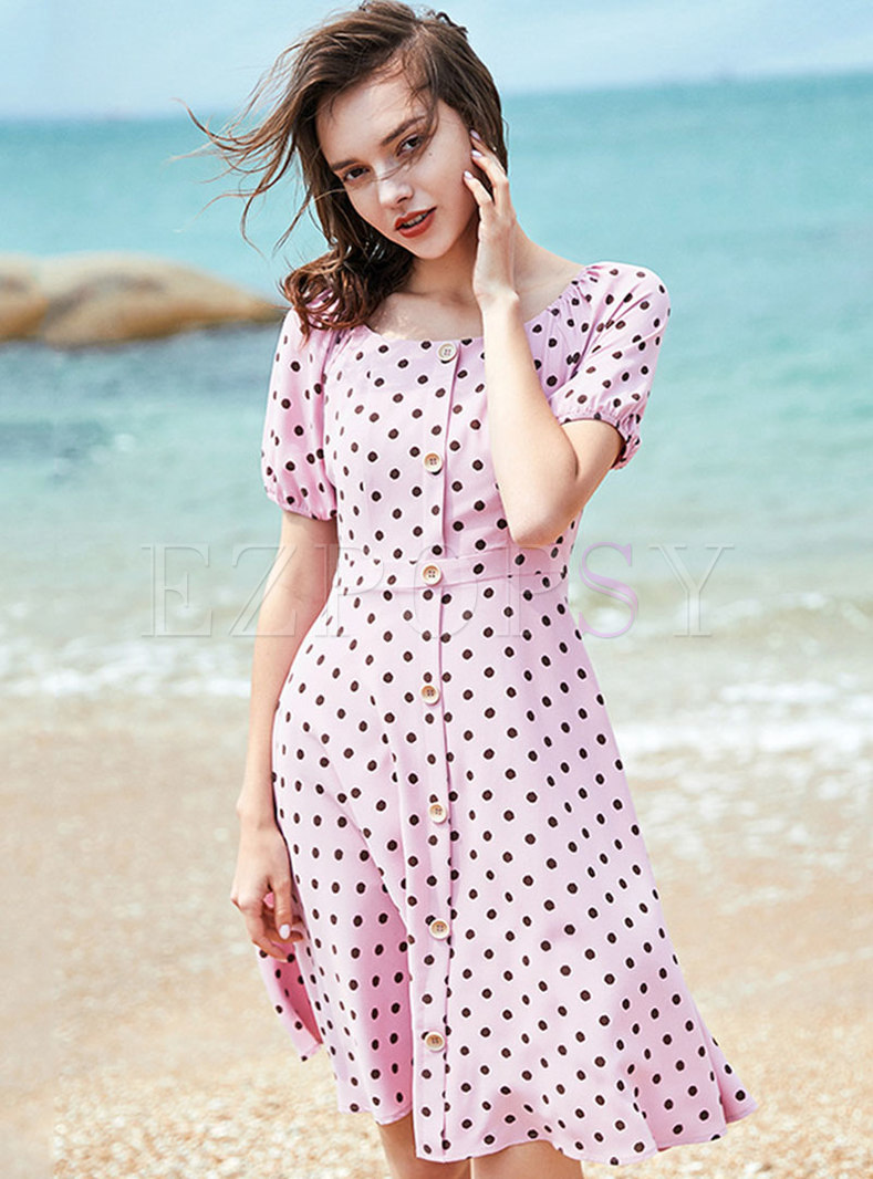 Polka Dot Puff Sleeve Single-breasted Slim Dress