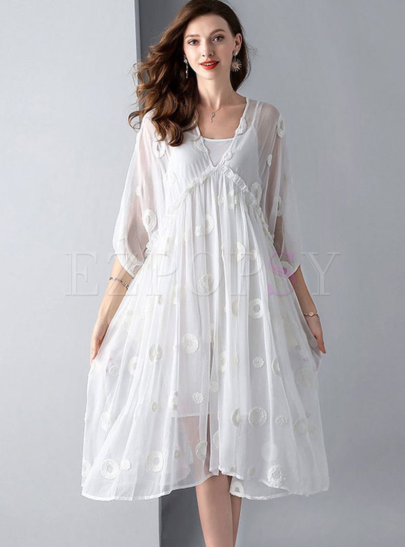 Plus Size V-neck High Waist Big Hem Dress