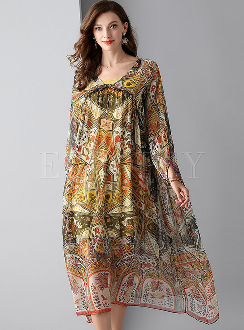 Chic Print Lantern Sleeve Loose Dress With Camis